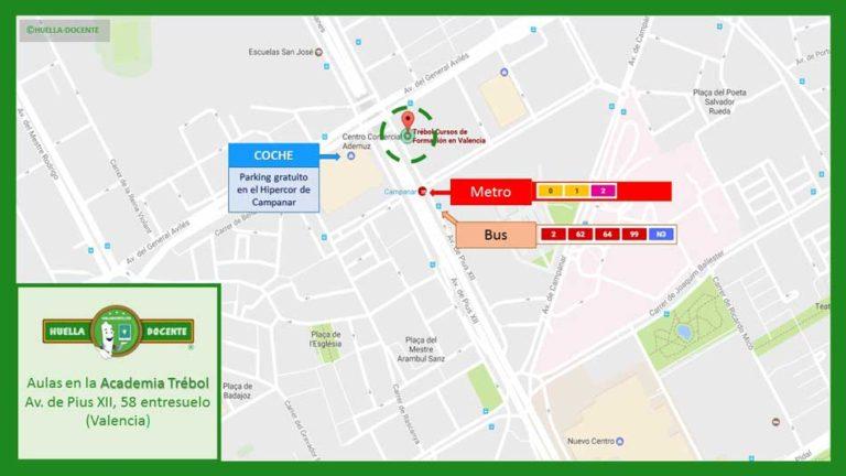 Mapa aulas academia Huella Docente